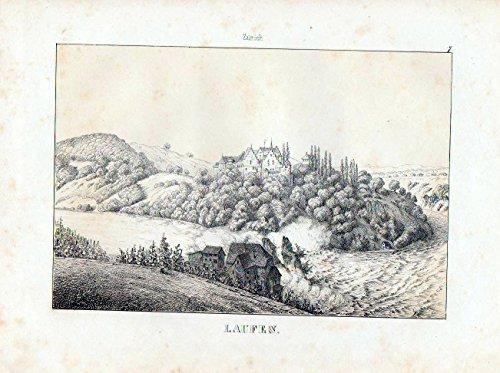 Schloss Laufen / Kanton Zürich / Schweiz - original Lithographie Ansicht