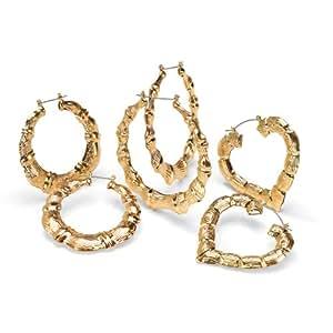 Palm Beach Jewelry 3 Paar runde Ohrringe/Creolen in Goldfarben im Bambus-Look