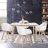 Yata Home Retro Table Blanche Salle a Manger Table à Manger Rectangulaire de 4 à 6 Personnes Scandinave Blanco et Pieds en Bois Hêtre 120 x 70 cm (3)
