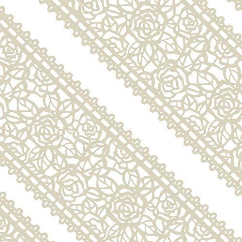 musykrafties Groß Vorgefertigt Gebrauchsfertig Essbarer Kuchen Spitze Rose Blüten 14-inch 20-Piece Set - Elfenbein Weiss