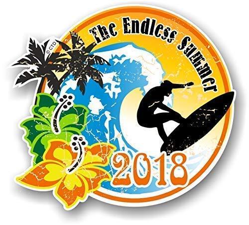 Distressd Retro Jahre Datiert Endless Summer 2018 Surfen Surfen Extern Vinyl Auto Wohnwagen Sticker Aufkleber 100x90mm