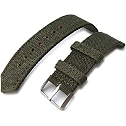 22mm MiLTAT WW2 Military Green Washed Canvas Watch Band, lockstitch pin-hole, BL