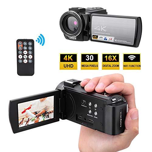 Videocamera, HDR-AE8 4K HD Videocamera Digitale WiFi 16X Zoom Youtube Vlogging Camera con Touchscreen da 3,0 Pollici, Schermo Ruotabile di 270 Gradi, Supporta Visione Notturna IR(con Batteria)