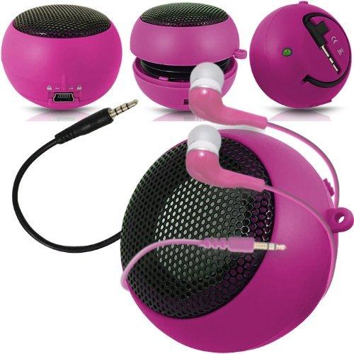 Preisvergleich Produktbild C63 ® Acer Liquid E700 Capsule-Lautsprecher Bass-Lautsprecher (aufladbar,  3, 5 mm-Klinkenstecker auf 3, 5-mm-Eingang & In-Ear-Kopfhörer,  Pink