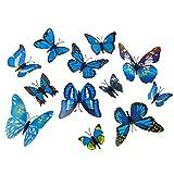 Mayitr 12 St Motiv PVC-Aufkleber Schmetterling Deko 3D-Aufkleber (Blau)