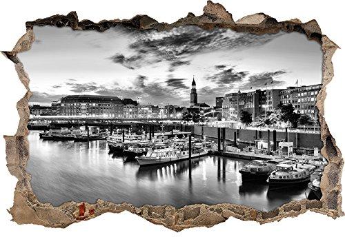 Preisvergleich Produktbild Monocrome,  Hamburger Hafen am Abend Wanddurchbruch im 3D-Look,  Wand- oder Türaufkleber Format: 92x62cm,  Wandsticker,  Wandtattoo,  Wanddekoration