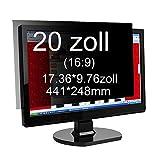 Xianan 20 zoll Widescreen 16:9 Blickschutzfilter Blickschutzfolie Privacy Screen Folie Blickschutz Sichtschutz 17.36*9.76zoll/441*248mm