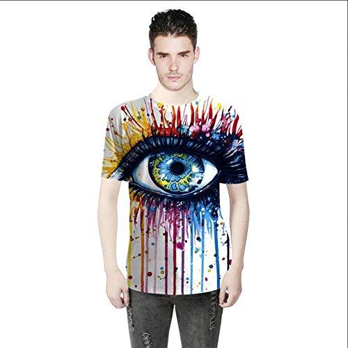 OOSM&h Männer T-Shirt 3D-Auge bunt Bedruckt O Hals Kurzarm Beiläufig Sommer Hip Hop Top Tees, Photo, l