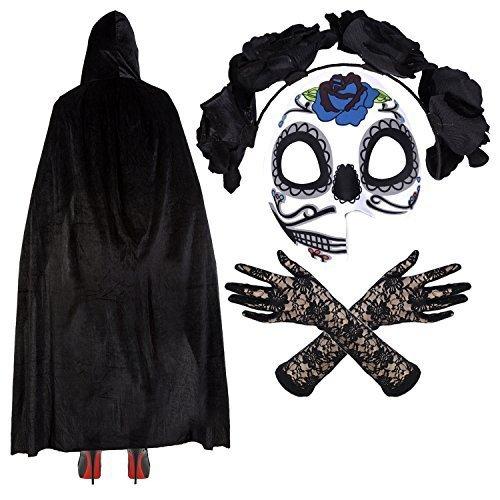 Damen Mexikanisch Zuckerschädel Tag Der Toten Halloween Kostüm - Maske/Stirnband/Velvet Umhang/Spitzenhandschuhe - Sofia