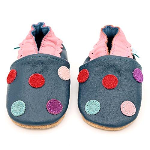 Bild von Dotty Fish Weiche Baby und Kleinkind Lederschuhe. Mädchen. Mehrfarbige Punkte.