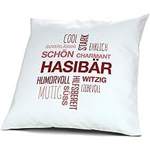 Motiv Positive Eigenschaften Jutebeutel mit Namen Hasibär