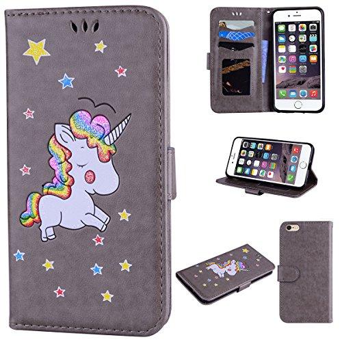 Custodia iPhone 6 Plus 5.5,ToDo Slim PU Pelle Cover per iPhone 6S Plus 5.5 Unicorno Bling Glitter Disegno Portafoglio Libro Flip Copertina Protective Case Chiusura Magnetica Supporto Stand Carta di  Grigio