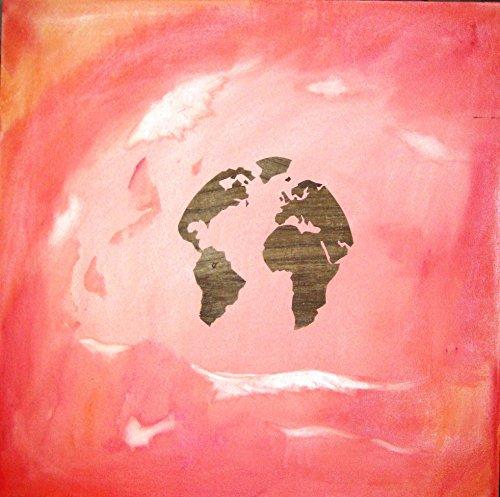 Acrylmalerei in Kombination mit Papyrus Antik // Leinwand mit Keilrahmen // RosaRote Welt... //...