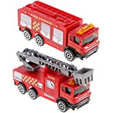 Segolike 2PCS Diecast Fire Truck Construction Vehicle Cars Model Toy For Kids Play