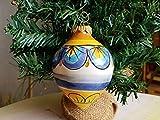 Palla di Natale in ceramica siciliana decorata a mano. Sfera di Natale. Addobbi natalizi in ceramica. Le ceramiche di Ketty Messina.