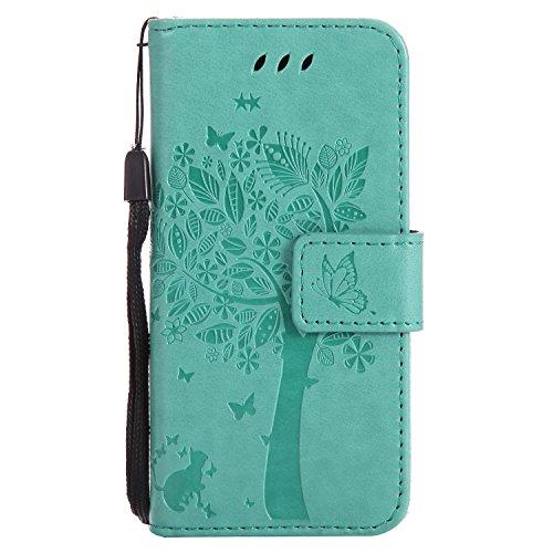 Hozor Apple iPod Touch 5/Touch 6 Handyhülle, zarte Baumprägung, aus Weichem PU-Leder und TPU-weichem Silikon, starker Magnetschließe mit Handschlaufe, zwei Kartensteckplätzen und Geldschlitz - Handschlaufe Touch Ipod 5