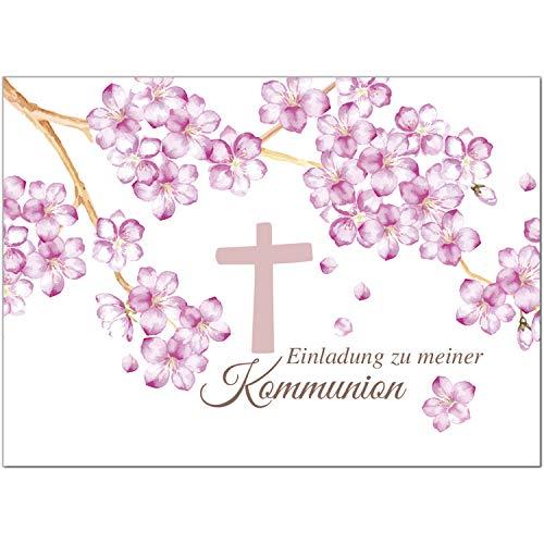 15 x Einladungskarten Kommunion mit Umschlag/Rosa Blüten mit Kreuz und Text/Kommunionskarten/Einladungen zur Feier