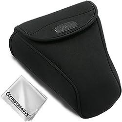 First2savvv Negro Funda Cámara Reflex Neopreno Protectora para Nikon D7500 D7200 D7100 D7000 D750 D500 D90 D80 D70 Adecuado para 18-105mm,18-135mm,18-140mm,18-200mm QSL-SLRL-N-A01