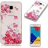 Etui pour Samsung Galay A3 2016 KSHOP Coque Protection en Gel Silicone TPU Premium Bumper Cover 2017 Transparent Crystal Design avec Motif - Série Fille de Fleurs Roses