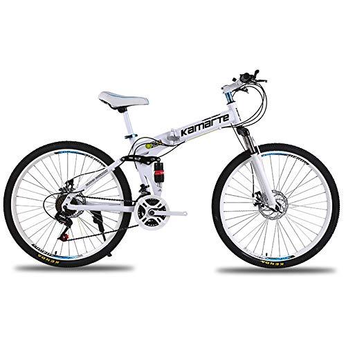 Unisexo Bicicleta de montaña de Doble suspensión 24 Pulgadas Estructura de Acero con Alto Contenido de Carbono 21/24/27 Velocidad Freno de Disco Doble Bicicleta Plegable,White,27Speed