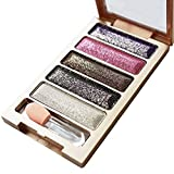 MRULIC New 5 Color Glitter Eyeshadow Makeup Eye Shadow Palette (B)