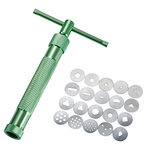 LIHAO Fondant Presse mit 20 Formen Zuckerpaste Extruder mit Zuckerfertigkeit Tortendeko Werkzeug (Polymer Clay Formen Prime)