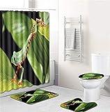 EMG Polyester Faser Badezimmer Vorhang Badezimmer Wolldecken Toiletten Sitz Kissen 16 Stück Satz Kreative Frosch Serie