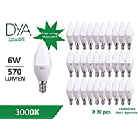 SET 30 LAMPADINE Confezione GRAN RISPARMIO - CANDELA LED 6W - E14 - 570 LUMEN - LUCE CALDA 3000K° - GREAT SAVINGS PACKAGING