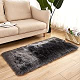 Anself Long Plush Ultra Soft Fluffy Rugs Rectangle Shape Faux Sheepskin Wool Carpet Rug for Living Room Bedroom Balcony Floor Mats