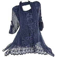 2tlg Kombination Lagenlook Spitze Tunika Bluse in Netz Optik 3D Blumen Twinset Schal 40 42 44 46 Blau M L Patchwork Pailetten festlich