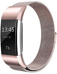 XCSOURCE® Magnetisches Milanese Ersatzband Edelstahl Verstellbares Armband (Rose Golden) für Fitbit Charge 2 TH644