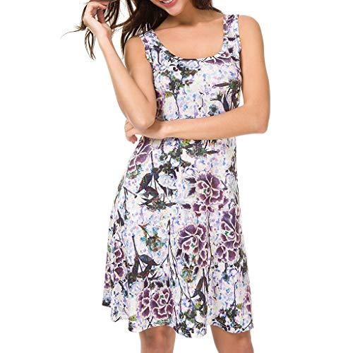 Damen Print Sling Minirock Kleid YunYoud Ärmelloses Retro Mini Strandkleid sommer kurz strand kleid jumpsuit elegant kleid für damen, Mehrfarbig 1, M - Tie Neck Chiffon-bluse
