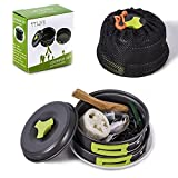 Camping Cookware Mess Kit Backpacking Gear Hiking Outdoors Bug Out Bag Cooking Equipment 12 Pieces Cookset Lightweight Compact Durable Pot Pan Bowls Free Folding Spork, Nylon Bag (Green)