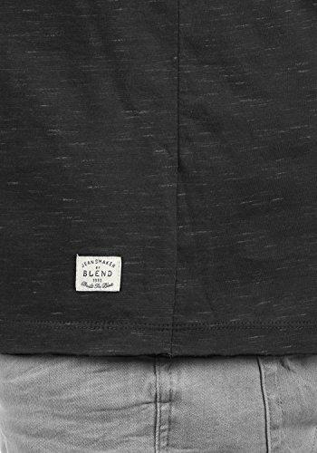 BLEND Barney Herren Longsleeve mit Rundhals-Ausschnitt aus hochwertiger Baumwollmischung Meliert Black (70155)