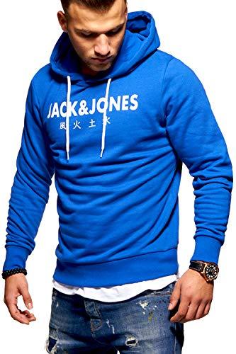 JACK & JONES Herren Hoodie Kapuzenpullover Sweatshirt Pullover Print Streetwear (Large, Surf The Web) - Blaue Baumwolle Mischung