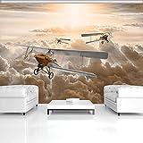 FORWALL Fototapete Vlies Tapete Moderne Wanddeko Flugzeuge über den Wolken VEXL (208cm. x 146cm.) AMF10605VEXL