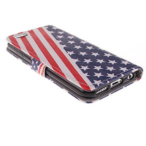 Ekakashop iPhone 6 Cover, iPhone 6S Custodia in pelle, Copertura di Vibrazione pelle con Magnete Flip Carina Balena Blue Case Stile del Libro di pelle della Protezione di caso del basamento della Cope USA Falg