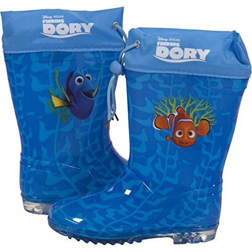 Disney Finding Dory Kids Waterproof Rubber Wellington Wellies Slip-On Winter Character Rain Gumboots Boots for Girls & Boys Snow Welly for Children & Toddlers in Blue - Junior Size 5-1 UK