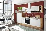 respekta Küchenzeile Küche Küchenblock Einbauküche Komplettküche 310 cm Wildeiche Weiß inkl. Geräte