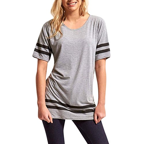 UFACE Damen Bluse Streifen Baggy Top Kurzarm Sport Pullover T Shirts Bluse (Bluse Drucken Bauer)