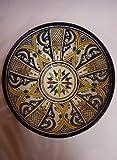Orientalische Keramikschale Keramikteller Rund Amsah Ø 30cm Groß | farbige marokkanische Keramik Schale Teller bunt aus Marokko | Orient große Keramikschalen flach Geschirr orientalisch handbemalt Vergleich