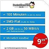 DeutschlandSIM LTE Mini SMS 2 GB - monatlich kündbar (2 GB LTE mit max. 50 MBit/s + Datenautomatik, 100 Minuten, SMS-Flat, EU-Ausland inklusive, 9,99 Euro/Monat)