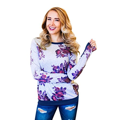 HUHU833 Tee Shirt Femme Casual Col O Impression à Manches Longues Mode Chemise Tops Chic Sweater Tee-Shirt Blouse Bleu