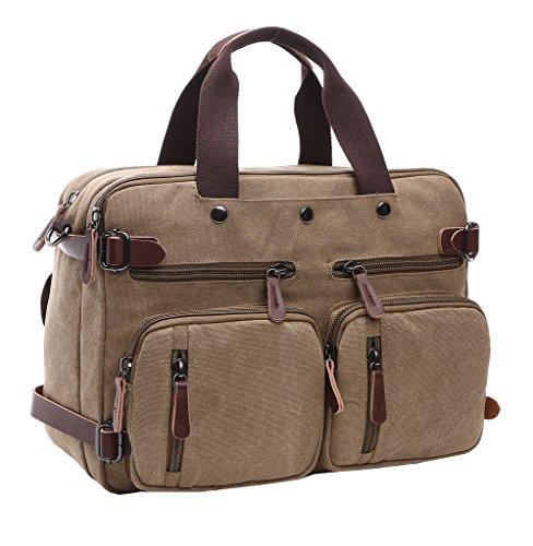Super moderno tela zaino a tracolla, borsa per computer laptop bag Bookbag School bag, borsa a tracolla per uomini e donne, Uomo donna, Brown Khaki