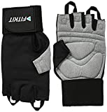 Fitkit Weight Lifting Gloves with Extra Long Wrist Strap, Large (Pair)
