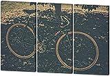 Vintage Bike, Gemälde Effekt, schönes und hochwertiges Leinwandbild zum Aufhängen in XXL - 3 Teiler mit 120cm x 80cm, echter Holzrahmen, effektiver Pigmentdruck, modernes Design für Ihr Büro oder Zimmer