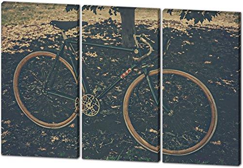 Preisvergleich Produktbild Vintage Bike, Gemälde Effekt, schönes und hochwertiges Leinwandbild zum Aufhängen in XXL - 3 Teiler mit 120cm x 80cm, echter Holzrahmen, effektiver Pigmentdruck, modernes Design für Ihr Büro oder Zimmer