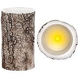 Bougie LED à pile avec son photophore cylindrique 15 x 9 cm en plastique dur épais de qualité supérieure (100583) Fonctionne avec 3 piles AAA (non fournies) décoration sympa