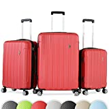 Vojagor 3er Kofferset | Größe L-90l M-60l S-30l, Hartschalenkoffer Trolley Set integriertes Zahlenkombinationsschloss | Reisekoffer Rollkoffer Koffer in verschiedenen Farben (Rot)