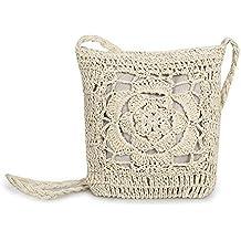 PERFECTSHOW Bolso hecho a mano del ganchillo Bolso hecho punto bolso de almacenamiento de la playa